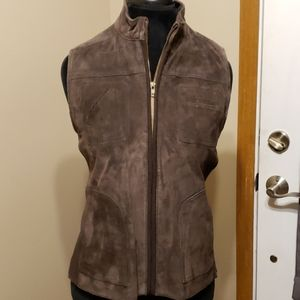 Chico's chocolate brown leather knit vest NEW
